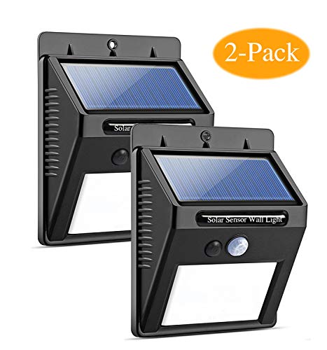 MoYoYo Solar Lights Outdoor, Wireless 20 LED Motion Sensor Solar Lights with Wide Lighting Area, Easy Install Waterproof Security Lights for Front Door, Back Yard, Driveway, Garage(2-Pack)