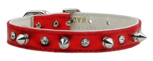 Dog Supplies Metallic Crystal And Spike Collars Red Mtl 16