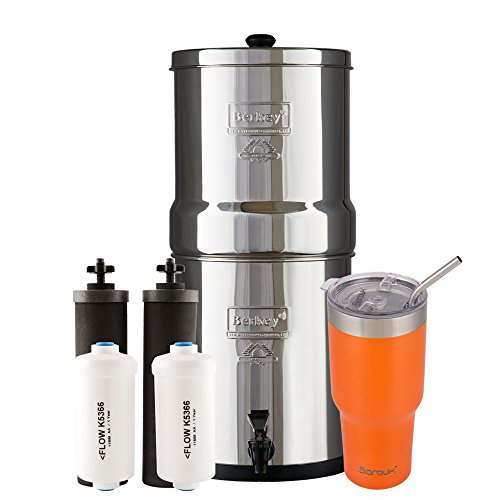 1.5 Water Filter System - Big Berkey Water Filter System with 2 Black Purifier Filters (2 Gallons) Bundled with 1 set of Fluoride (PF2) Filters and 1 Boroux Double Walled 30 oz Stainless Steel Tumbler Cup