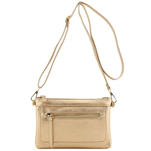 - Multi-functional Wristlet Clutch and Crossbody Bag (Rose Gold)