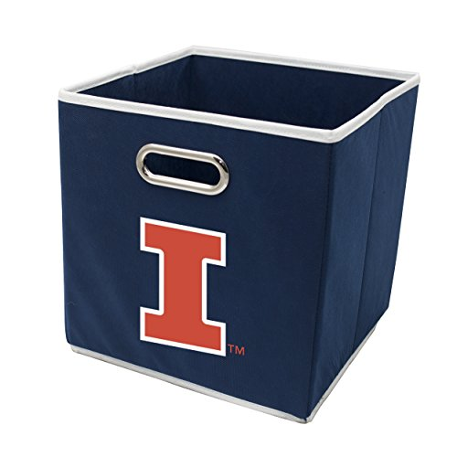 Franklin Sports Illinois Fighting Illini Collapsible Storage Bin - Made to Fit Storage Bin Shelf Organizers - 10.5