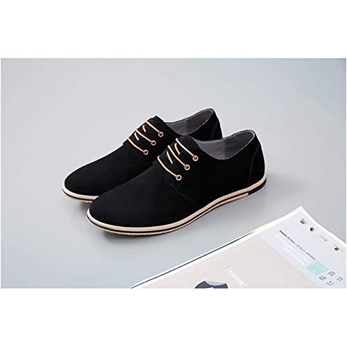 de los de Cordones Negocios de Negro Ocasionales Oxford Zapatos Zapatos de Zapatos Cuero Hombres Planos Brogues de NXY wxp7YFqn
