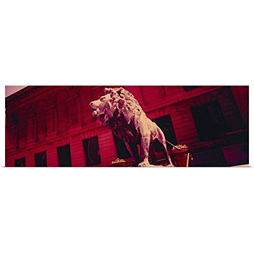 GREATBIGCANVAS Poster Print Entitled Lion Statue in Front of an Art Museum, Art Institute of Chicago, Chicago, Illinois by 36