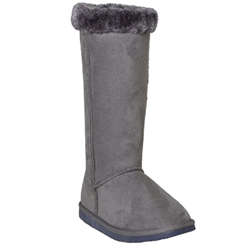 Shoes Generation On Cuff Y Casual Fur Pull Mid Gray Womens Boots Calf Trimming FWPROFwqg