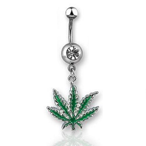 weed belly button rings - 3