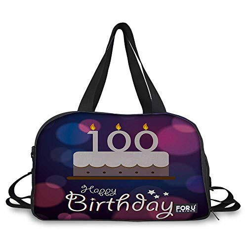 100th Birthday Weekend bag Cartoon Print Cake and Candles on Abstract Backdrop Image Artwork Print sports bag carry on bag for small trip Purple and Pink