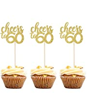 24PCS Gold Glitter Cheers to 60 Cupcake Toppers 60th Birthday Anniversary Cake Toppers 60 Party Themes Decoration Supplies