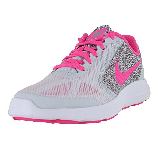 NIKE Girls' Revolution 3 (GS), Pure Platinum/Pink Blast-Wolf Grey/White, 5.5 M US Big