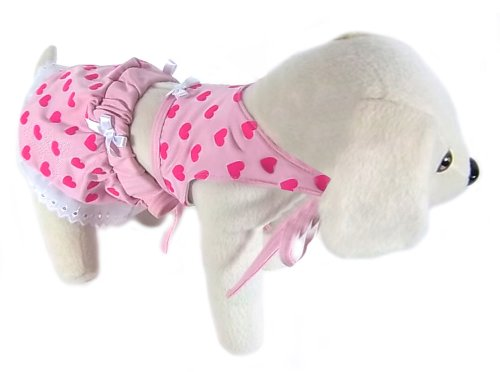 UP Collection Bikini Bathing Suit with Lace Trimmed Skirt for Dogs, Pink Hearts, Large
