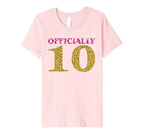 Kids Glitter Happy 10th Birthday Bday Princess T-Shirt Gift 12 Pink
