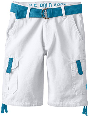 U.S. Polo Assn. Big Boys' Belted Twill Cargo Short, White, 12