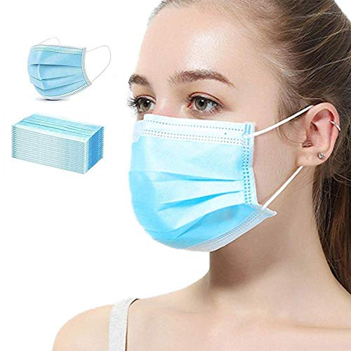 [50 PCS] DR.'S CLEAN Face Mask - Disposable Masks - 3 PLY, Breathable & Comfortable - Use Indoor & Outdoor - For Men & Women - Blue Color