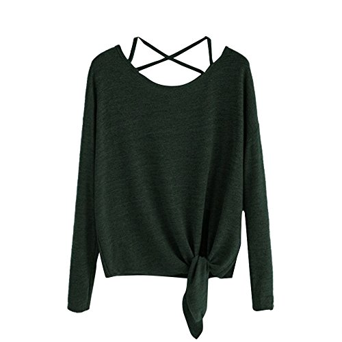 ANJUNIE Women Daily Crow Tied Up T-Shirt Long Sleeve Soild Casual Tops Blouse (Green,XL) -
