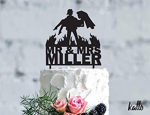 Fireman wedding cake topper Customizable Wedding Cake Topper Personalized Firefighter cake topper Wedding Cake Topper]()