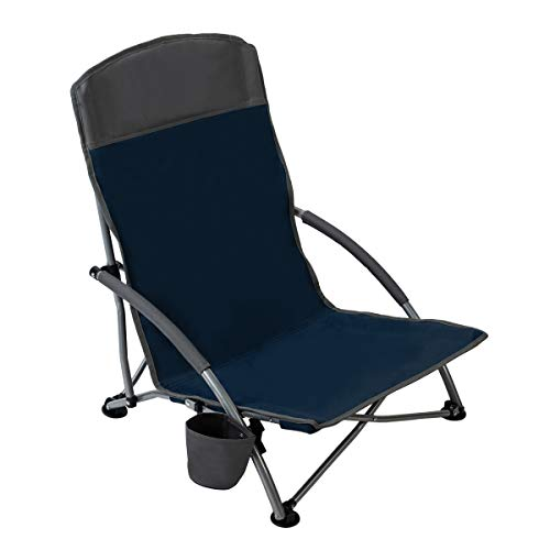 Pacific Pass Low Profile Beach Chair with Carry Bag Supports 250lbs