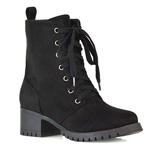 - ESSEX GLAM Womens Lace Up Military Booties Ladies Black Faux Suede Zip Up Cleated Sole Mid Block Heel Chunky Combat Ankle Boots Shoes 8 B(M) US