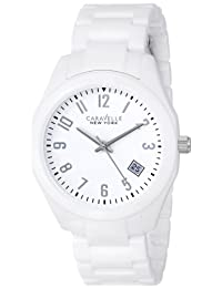 Bulova Caravelle New York  Women's 45M107 Analog Display Japanese Quartz White Watch