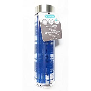 Tundra 17 oz. Glass Water Bottle & Stainless Steel Lid - Navy Blue Plaid