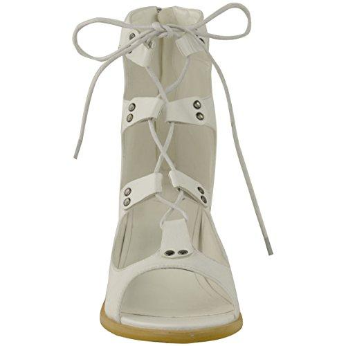 Fashion Thirsty Botines Mujer con Cordones Gladiador Corte Abierto Tacón Bajo de Bloque Talla Blanco Piel Sintética