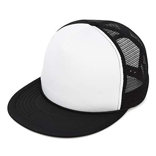 (Flat Billed Trucker Cap with Mesh Back in Black-White )