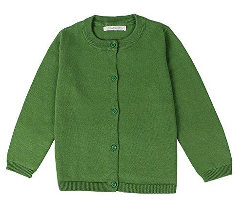Knit Kids Sweater - RJXDLT Little Girls Cardigan Knit Sweaters Long Sleeve Button Cotton Sweater 6Y Green