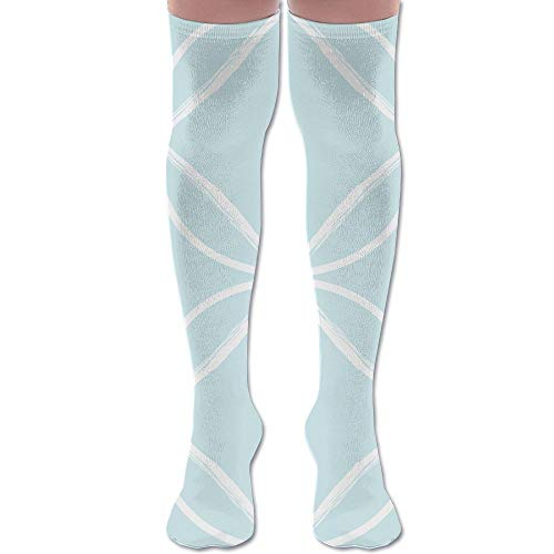 DFAUHAL Circle Ogee Pale Blue Fabric (3795) Knee High Graduated Compression Socks for Unisex - Best Medical, Nursing, Travel & Flight Socks - Running & Fitness (Blue Circles Graduated)