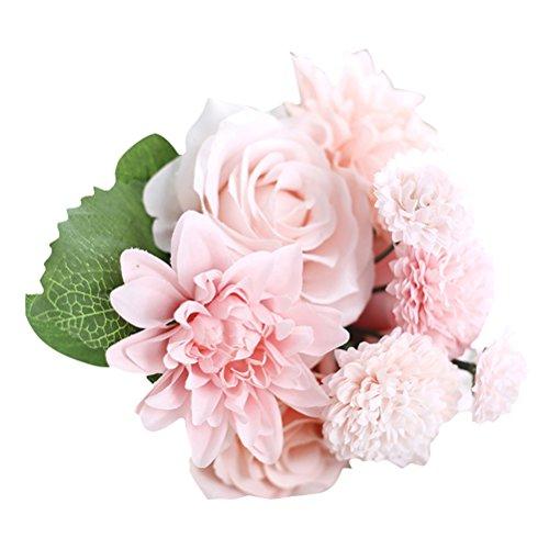 WINOMO rosas artificiales ramo de flores centro de mesa para decoración de día de San Valentín de boda (rosa)