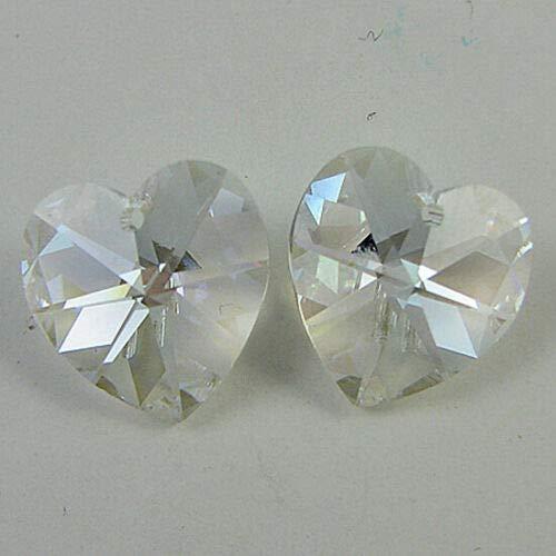 - buyallstore 2 14mm Swarovski Crystal Heart Pendant 6202 Moonlight