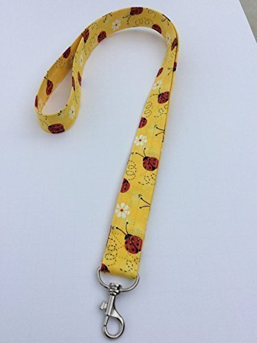 Yellow Ladybug Lanyard ID Badge Key Holder Keeper Fabric White Daisies with Red and Yellow
