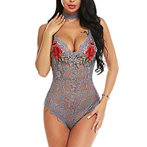 ADOME Lingerie For Women Lingerie Bodysuit Embroidered Lace Teddy with Choker One Piece Babydoll