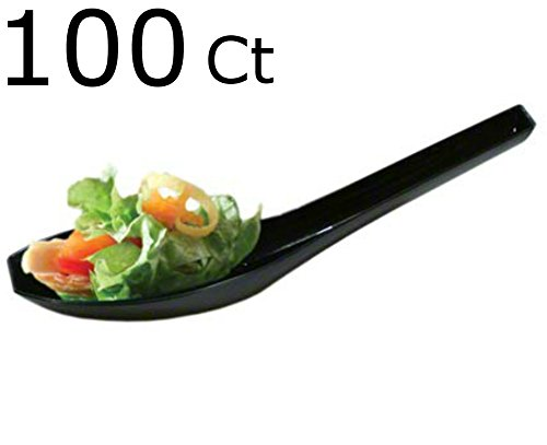 ic Black Chinese Soup Spoons Asian Soup Spoons Dessert Spoon Tasting spoons & Sample Spoon (100 Black Asian Spoons) ()