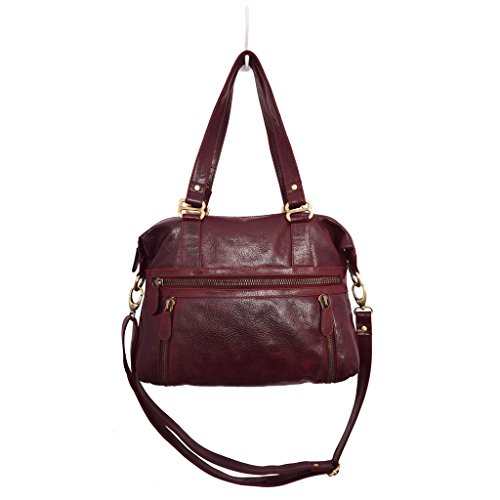 (Latico Leathers Hazel Shoulderbag Bag, 100 Percent Luxury Leather Designer Made, Weekend Casual Fashion, Pebbled Burgundy)