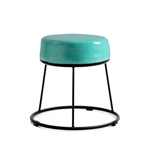 Environmentally Friendly and Tasteless, Iron Makeup Stool Round Coffee Stool Artificial Leather Cushion Suitable for Coffee Shop Family Companies,Rugged Load Carrying Capacity (Color : #1)