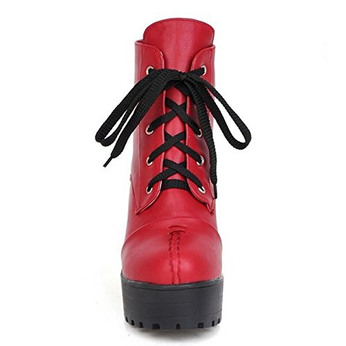 COOLCEPT Botas de Tacon Ancho Alto con Cordones para Mujer Red