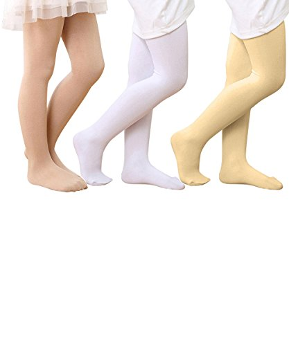 [Zando Girls Kids Ultra Soft Comfort Solid Waistband Opaque Footed Tight Leggings Nude Beige White] (Boys Snowflake Costume Uk)