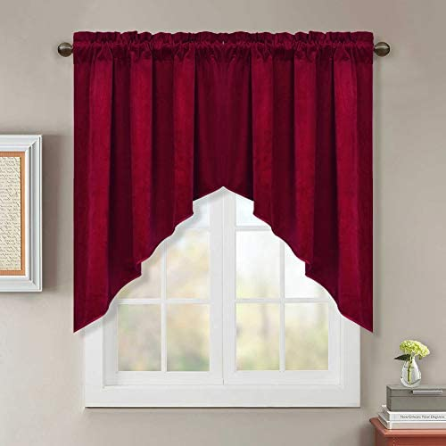 StangH Red Velvet Curtain Swags for Window – Winter Season Soft Velvet Texture Tiers Sunlight Blocking Privacy Protect Curtains for Living Room Holiday Decor, Red, W35 x L36 inch, 2 Panels