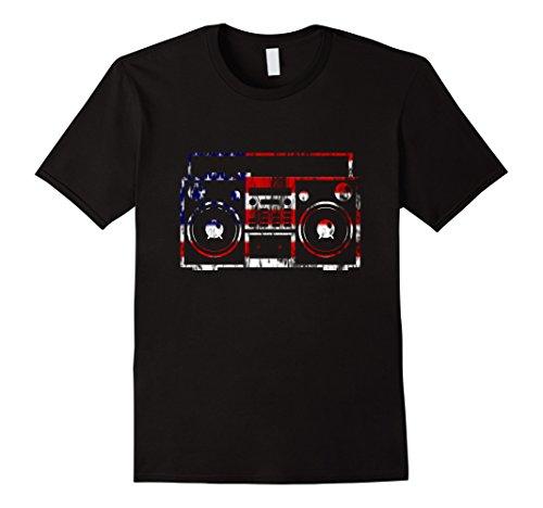 Mens Retro 1980s Stereo USA Red White and Blue Flag T-shirt XL - Fashion 1980s Men