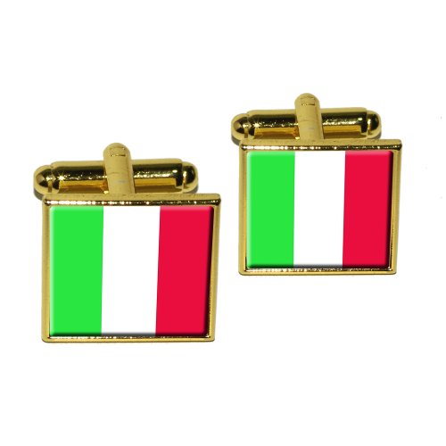 Italian Square Cufflinks - Italy Italian Flag Square Cufflink Set - Gold