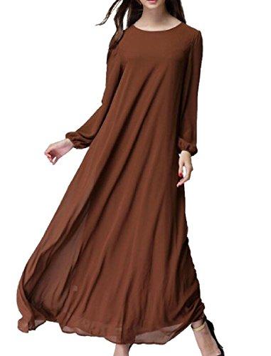 Sleeve Long Crewneck Coolred Dress Colored Brown Muslim Solid Women Abaya U006Yxq1