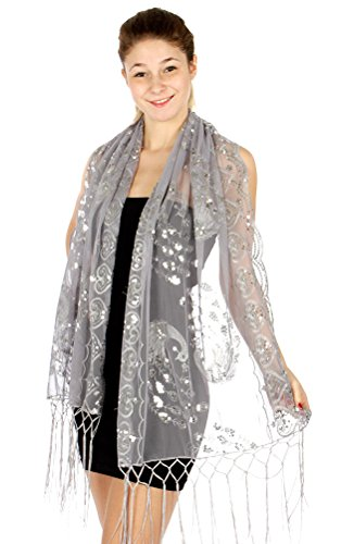 - Sheer Peacock & Heart Sequin Fringed Evening Wrap Shawl for Prom Wedding Formal (Silver)
