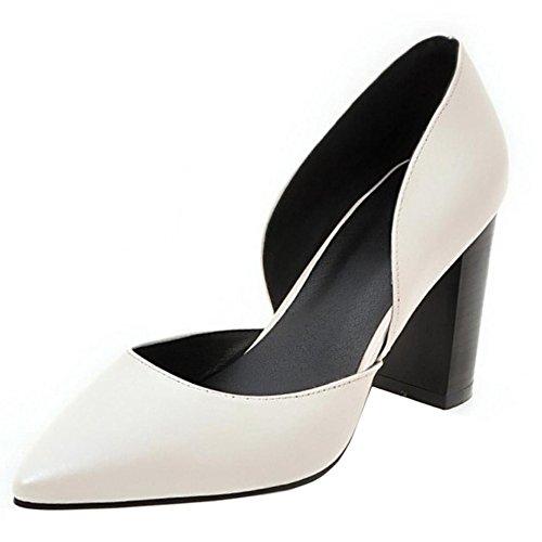 COOLCEPT Mujer Moda Puntiagudo sin Cordones Tacon de Aguja Tacon Fiesta Boda Zapatos Blanco