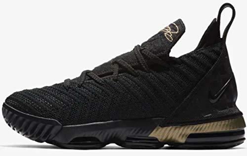 8592d8ebf8a Nike Kids Grade School Lebron 16 Basketball Shoes (Black Metallic Gold