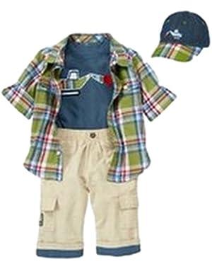 Baby Boy Construction Bundle: Bodysuit, Pants, Shirt, Hat 6-12 Months