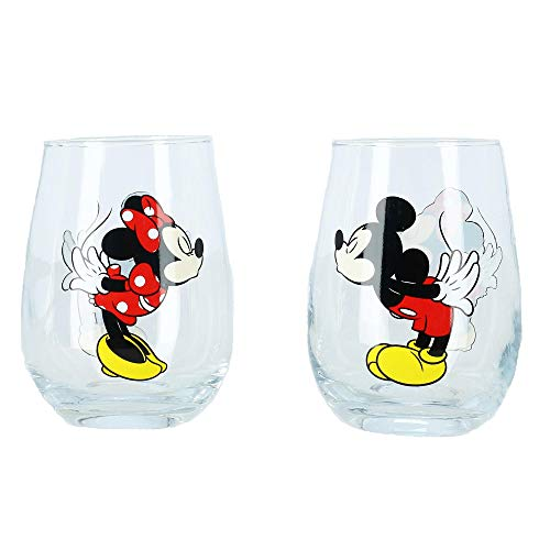 (Disney Kissing Mickey and Minnie Mouse Couples Stemless Glasses, Set of 2)
