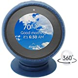 Budesi Echo Spot Case Stand, Perfect in Car or Table All-in-one Silicone Protector Sleeve Case Cover and Chuck Fixed Aluminum Stand Holder Compatible for Amazon Echo Spot 360 Rotation