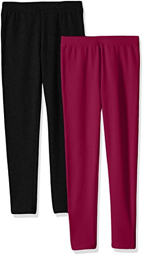 Amazon Essentials Little Girls' 2-Pack Cozy Leggings, Burgundy/Black, Small]()