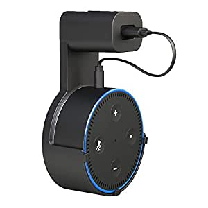 Alexa Echo dot Wall Mount Holder,Saving Solution Your Smart Home Speakers Without Messy Wires Screws in Kitchens Bathroom Bedroom- Black
