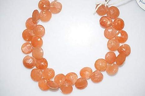 Peach Moonstone Both Side Chacker Cut Briolettes-Round Shape-Peach Moonstone Gemstone Peach Moonstone Loose Gemstons--12 mm-JC-1342