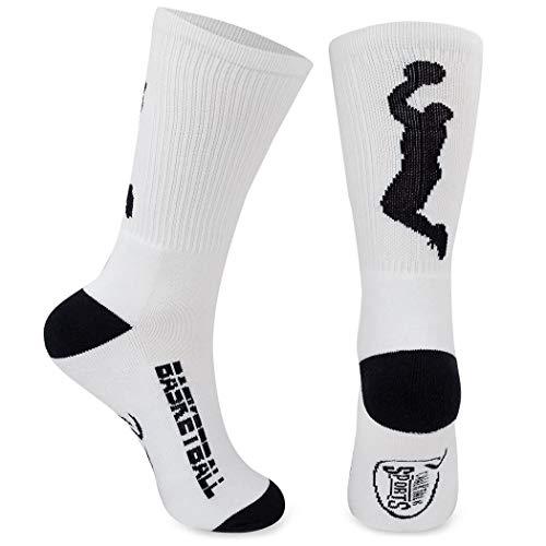 ChalkTalkSPORTS Athletic Half Cushioned Crew Socks | Basketball Player Design | White
