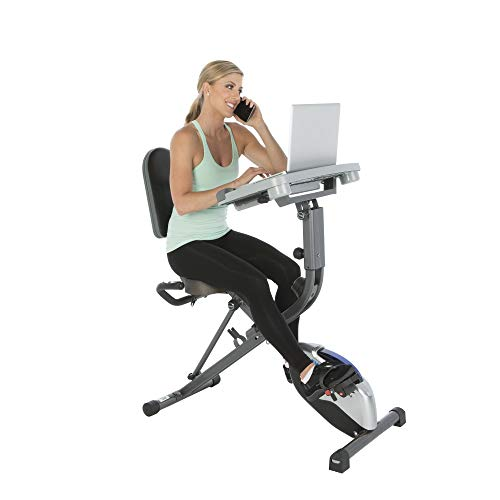 Exerpeutic ExerWorK 1000 Fully Adjustable Desk Folding Exercise Bike with Pulse (Renewed)